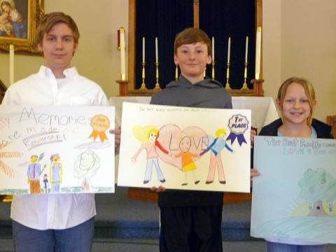 Immaculate Conception Catholic School winners (L to R) Bill Rowe, Patrick Johnson and Rachel Ann Krantz.