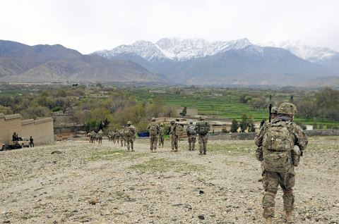 U.S. Army Soldiers from Company A, 1st Battalion, 327th Infantry Regiment, 1st Brigade Combat Team, 101st Airborne Division, conduct a dismounted patrol into a village March 27, 2013, in the Khogyani District, Nangarhar Province, Afghanistan. (U.S. Army photo by Sgt. Jon Heinrich, CT 1-101 Public Affairs)