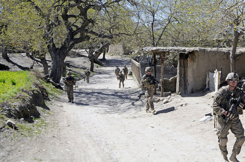 U.S. Army Soldiers with 3rd Platoon, Company A, 1st Battalion, 327th Infantry Regiment, 1st Brigade Combat Team, 101st Airborne Division, conduct to a patrol of a local bazaar, March 30, 2013, in Khogyani District, Nangarhar Province, Afghanistan. The patrol was part of a five day mission in conjunction with the Afghan National Security Forces. (U.S. Army photo by Sgt. Jon Heinrich, RC-East PAO)