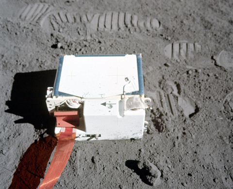 The Lunar Atmospheric Composition Experiment (LACE) deployment during the Apollo 17 mission. (Image credit: NASA)