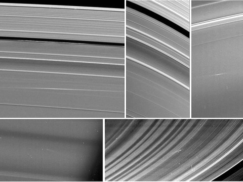 Five images of Saturn's rings, taken by NASA's Cassini spacecraft between 2009 and 2012, show clouds of material ejected from impacts of small objects into the rings. (Image Credit: NASA/JPL-Caltech/Space Science Institute/Cornell)