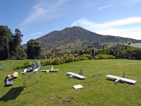 NASA researchers modified three repurposed Aerovironment RQ-14 Dragon Eye unmanned aerial vehicles acquired from the United States Marine Corps to study the sulfur dioxide plume of Costa Rica's Turrialba volcano. The project is designed to improve the remote sensing capability of satellites and computer models of volcanic activity. (Image credit: Google/NASA/Matthew Fladeland)