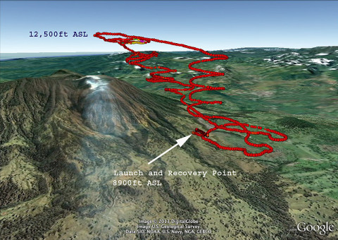 The study launched 10 flights between March 11-14, 2013, into the volcanic plume and along the rim of the Turrialba summit crater approx. 10,500 feet above sea level. (Image credit: NASA/ Matthew Fladeland)
