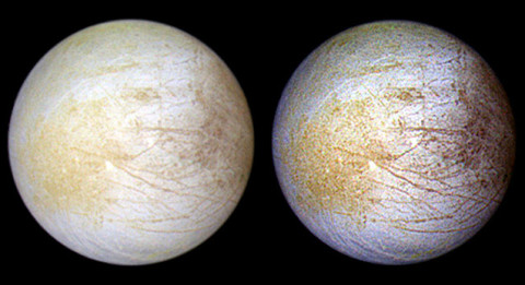 This color composite view combines violet, green, and infrared images of Jupiter's intriguing moon, Europa, for a view of the moon in natural color (left) and in enhanced color designed to bring out subtle color differences in the surface (right). The bright white and bluish part of Europa's surface is composed mostly of water ice, with very few non-ice materials. (Image credit: NASA/JPL/University of Arizona)