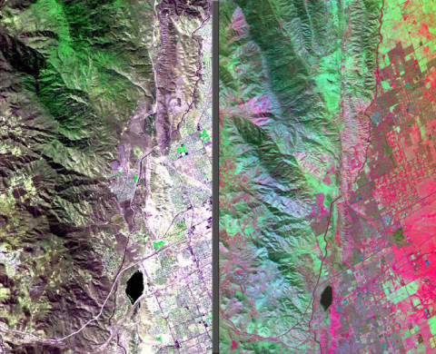 The HyspIRI airborne campaign overflew California's San Andreas Fault on March 29th, 2013. The three-color (red, green, blue) composite image of the fault (left), composed from AVIRIS data, is similar to what a snapshot from a consumer camera would show. The entirety of data from AVIRIS, however, spans the visible to the short-wavelength infrared part of the spectrum. Temperature information (right) was collected simultaneously by the MASTER instrument. Red areas are composed of minerals with high silica, such as urban areas, while darker and cooler areas are composed of water and heavy vegetation. (Image credit: NASA/JPL)