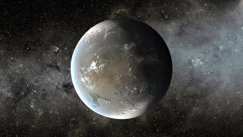 The artist's concept depicts Kepler-62f, a super-Earth-size planet in the habitable zone of a star smaller and cooler than the sun, located about 1,200 light-years from Earth in the constellation Lyra. (Credit: NASA/Ames/JPL-Caltech)