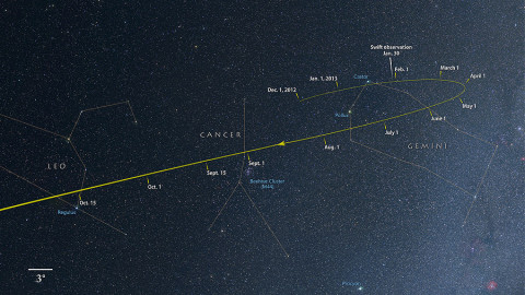 From now through October, comet ISON tracks through the constellations Gemini, Cancer and Leo as it falls toward the sun. (Credit: NASA's Goddard Space Flight Center/Axel Mellinger)