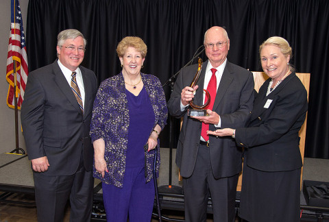 APSU President Tim Hall joins Amy and Ken Landrum as Fran Marcum with the Tennessee Board of Regents presents the couple with the 2013 Regents Award for Excellence in Philanthropy. (Photo by Beth Liggett/APSU).