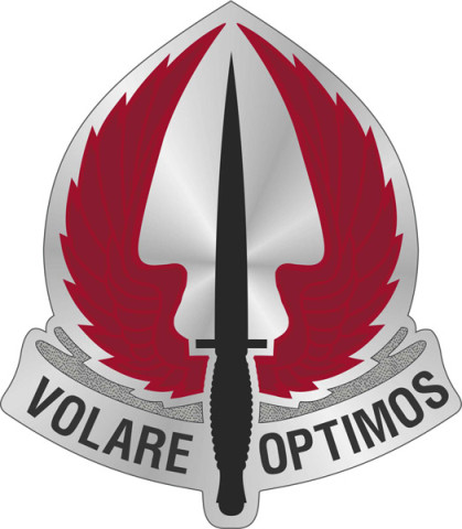 The USASOAC Distinctive Unit Insignia that will be worn by Soldiers assigned to the HQs, SIMO, TAPO, SOATB, and the UFD.