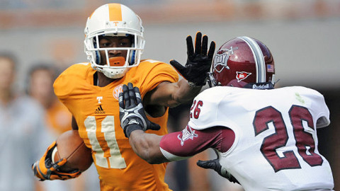 Wide receiver Justin Hunter #11 of the Tennessee Volunteers during the homecoming game between the Troy Trojans and the Tennessee Volunteers at Neyland Stadium in Knoxville, TN. Hunter had a Career-high 181 yards on nine catches with three touchdowns vs. Troy. (Donald Page - Tennessee Athletics)