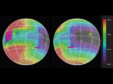 This graphic of Jupiter's moon Europa maps a relationship between the amount of energy deposited onto the moon from charged-particle bombardment and the chemical contents of ice deposits on the surface in five areas of the moon (labeled A through E). (Credit: NASA/JPL-Caltech/Univ. of Ariz./JHUAPL/Univ. of Colo.)