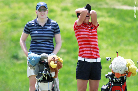 APSU's Jessica Cathey reacts to her hole-in-one on the 11th hole at the GreyStone Golf Club Monday. Austin Peay Women's Golf. (Courtesy: Austin Peay Sports Information)