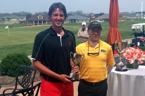 APSU Golf's Dustin Korte with Mark LaRue Missouri Golf Coach. (Courtesy: Austin Peay Sports Information)