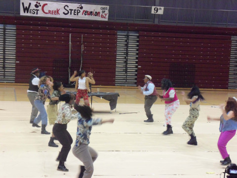The West Creek High School Step Team performs at the 4th Annual Step & Dance Crew Challenge