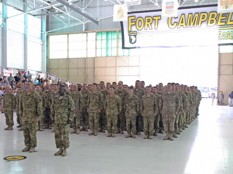 "Soldiers assigned to the 3rd Brigade Combat Team ""Rakkasans,"" and 101st Combat Aviation Brigade, 101st Airborne Division (Air Assault), are greeted by family members during their welcome home ceremony, May 20th, 2013, at Fort Campbell, Ky. The Soldiers returned home after a nine-month deployment to Afghanistan in support of Operation Enduring Freedom, where they advised and assisted the Afghan National Security Forces to better enable them to take a lead role for their country in the future."