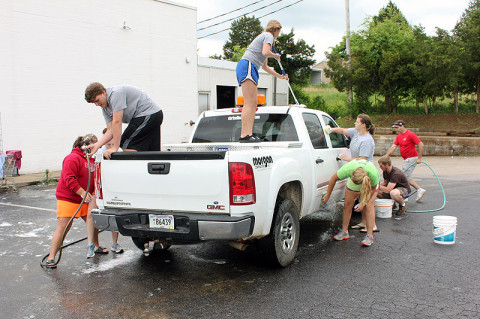 MCHS Fellowship of Christian Athletes held a Car Wash Saturday at Hilltop