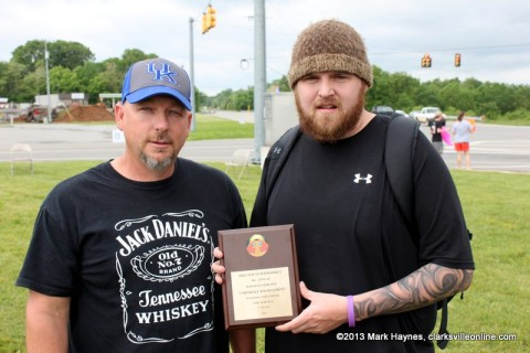 (L to R) Jimmy McGuffin (from Frankfort, KY) and Michael Ratcliffe (from Lawrenceburg, KY) won the Palmyra Volunteer Fire Department Cornhole Tournament.