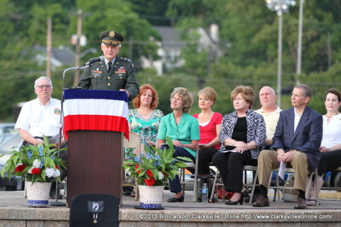 Colonel (Ret) Tom Denney addressing the crowd at the 2013 Vietnam Veterans of America Memorial Day Candle Light Vigil in Montgomery County.