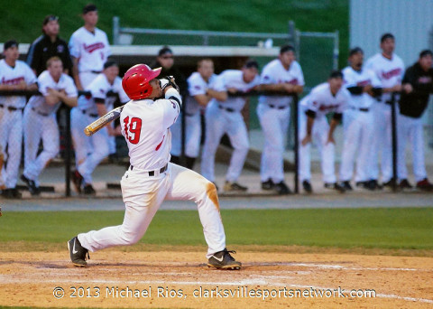 APSU catcher P.J. Torres hits game winning home run. Austin Peay Baseball. (Michael Rios - Clarksville Sports Network)