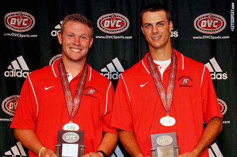 Junior Craig Massoni (left) and senior Tyler Rogers were named the OVC's Player and Pitcher of the Year, respectively, at the OVC Baseball Awards Banquet, Tuesday. (Courtesy: Austin Peay Sports Information)