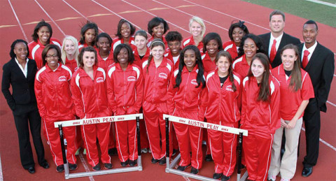 2012-13 Austin Peay Women's Cross Country & Track and Field: Top Row (L-R) Jasmine Foster, Lauren Lyles, Kymmalett Ross, Amia Butler, Alyssa Molnar, Taelor Slaughter, Head Coach Doug Molnar. Second Row (L-R) Assistant Coach Valerie Brown, Amanda Wikenholm, Erika Adams, Nichole Bressner, Kendra Kirksey, LaMontra Robinson, Cenitra Hudson, Volunteer Assistant Coach James Jenkins. Bottom Row (L-R) Anotonia Stevenson, Chantelle Grey, Sharese Braziel Miranda Weed, Breigh Jones, Xiamar Richards, Alexis Eldrige, Elizabeth Riley.