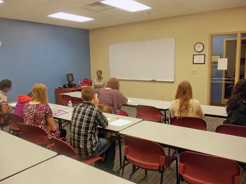 APSU's Makeba Webb speaks with LEAP Youth Career Development Program students.