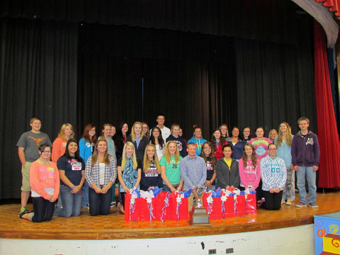 The trophy is presented to Sullivan East High School in Bluff City, Tenn., winner of the first Tennessee Battle of the Belt competition. The Tennessee Department of Health has partnered with Tennessee Trauma Centers to sponsor this statewide contest among high schools with the goal of increasing seat belt usage.