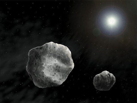 Asteroid 1998 QE2 revealed to be Binary Asteroid. Artist Rendition. (NASA)