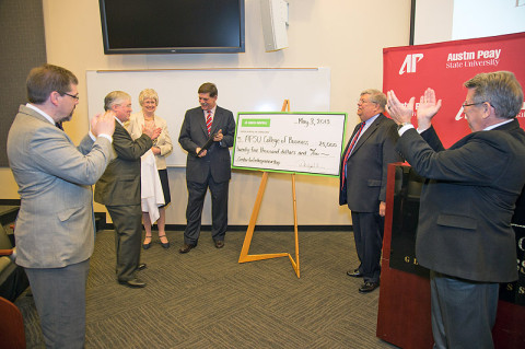 Several APSU administrative leaders and others celebrate the monetary gifts contributed to the new Center for Entrepreneurship during a formal announcement held May 3rd in the APSU Gentry Auditorium. (Photo by Beth Liggett, APSU photographer)