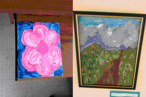 Clarksville Elementary School Students have created these paintings to raise money for a staff member's medical expenses.