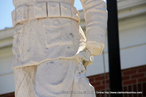 Doughboy Statue in Downtown Clarksville has been damaged and the rifle stolen.