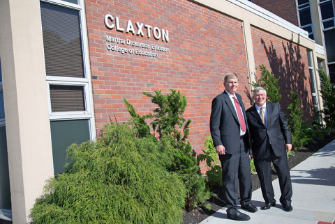 Lars Eriksson and APSU President Tim Hall outside the Claxton Building, which houses the newly named Martha Dickerson Eriksson College of Education. (Photo by Beth Liggett/APSU Staff)