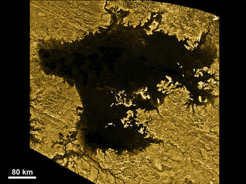 Ligeia Mare, shown in here in data obtained by NASA's Cassini spacecraft, is the second largest known body of liquid on Saturn's moon Titan. It is filled with liquid hydrocarbons, such as ethane and methane, and is one of the many seas and lakes that bejewel Titan's north polar region. Cassini has yet to observe waves on Ligeia Mare and will look again during its next encounter on May 23rd, 2013. (Image credit: NASA/JPL-Caltech/ASI/Cornell)