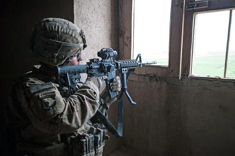 "ZORMAT, Afghanistan – U.S. Army Spec. Joseph Ramirez, an Infantryman with ""Bulldog"" Company B, 1st Battalion, 187th Infantry Regiment, 3rd Brigade Combat Team ""Rakkasans,"" 101st Airborne Division (Air Assault), provides security during Operation Sham Shir, April 24, 2013, Sahak, Afghanistan.  (U.S. Army National Guard Sgt. Joshua S. Edwards)"