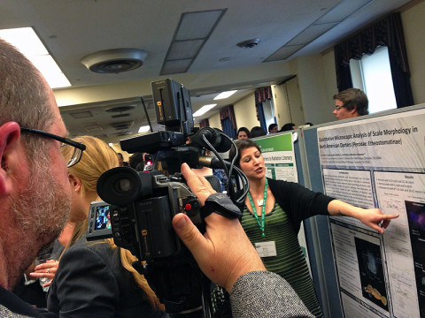APSU student Eva Grebe is interviewed about her research during the Council on Undergraduate Research's Posters on the Hill Convention in Washington, D.C.