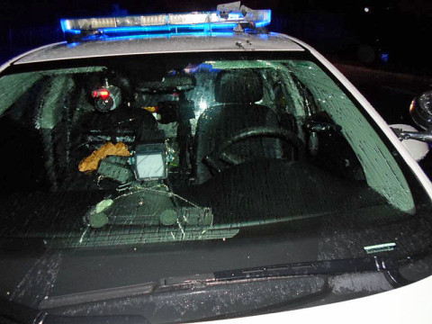 The Clarksville Patrol Car had damage to the windshield, roof and light bar.