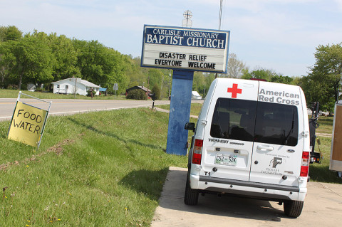 Carlisle Missionary Baptist Church welcomes all despite flood damage. (Robert W. Wallace)