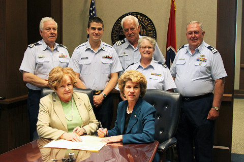 Front row: Montgomery County Mayor Carolyn Bowers and City of Clarksville Mayor Kim McMillan Second row: James Williamson, USCG Auxiliary Division 11 Vice Commander; MST2 Brian Hunter USCG MSD Nashville; Jack Wood, USCG Auxiliary Division 11 Commander; Diane Gilman, Detachment Clarksville; and Fred Gilman, Detachment Leader, Clarksville.