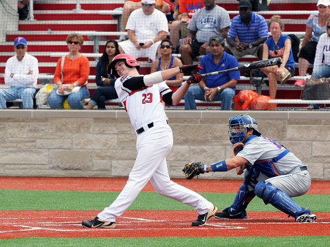 APSU's Michael Davis hit a three-run homer in the bottom of the eighth inning to give the Governors a 4-3 win over third-seeded Florida Gators. Austin Peay Baseball. (Lisa Kemmer - Clarksville Sports Network)