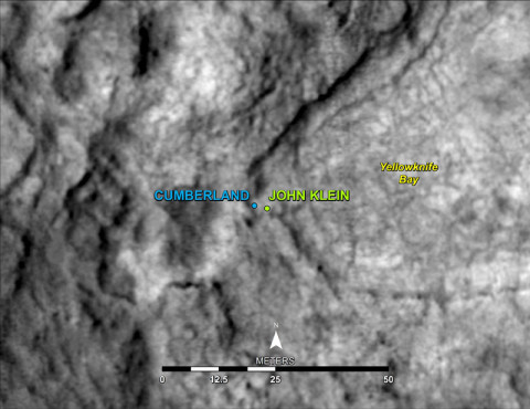 "This map shows the location of ""Cumberland,"" the second rock-drilling target for NASA's Mars rover Curiosity, in relation to the rover's first drilling target, ""John Klein,"" within the southwestern lobe of a shallow depression called ""Yellowknife Bay."" Cumberland, like John Klein, is a patch of flat-lying bedrock with pale veins and bumpy surface texture. The bumpiness is due to erosion-resistant nodules within the rock, which have been identified as concretions resulting from the action of mineral-laden water. (Credit: NASA/JPL-Caltech/Univ. of Arizona)"