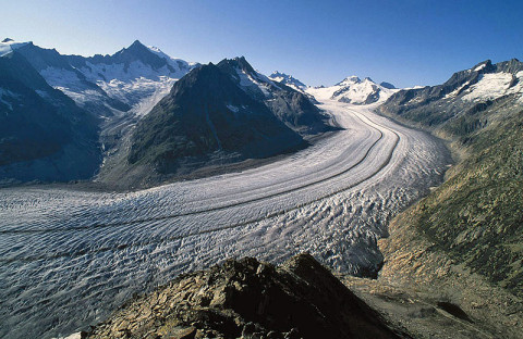 The Aletschglacier in Switzerland is the largest valley glacier in the Alps. Its volume loss since the middle of the 19th century is well visible from the trimlines to the right of the image. (Credit: Frank Paul, University of Zurich)