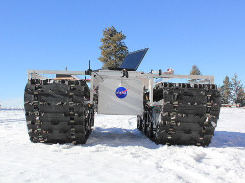 A prototype of GROVER, minus its solar panels, was tested in January 2012 at a ski resort in Idaho. The laptop in the picture is for testing purposes only and is not mounted on the final prototype. (Credit: Gabriel Trisca, Boise State University)