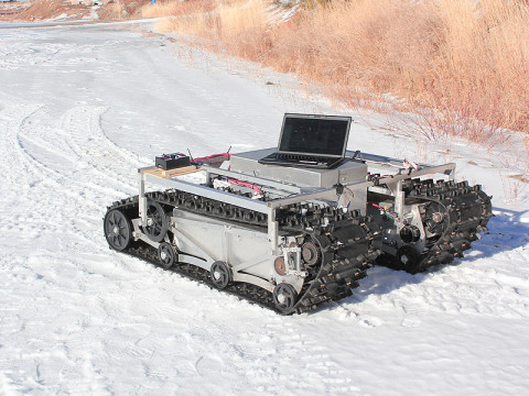 A prototype of GROVER, minus its solar panels, was tested in January 2012 at a ski resort in Idaho. (Credit: Gabriel Trisca, Boise State University)