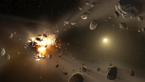 This artist's conception shows how families of asteroids are created. Over the history of our solar system, catastrophic collisions between asteroids located in the belt between Mars and Jupiter have formed families of objects on similar orbits around the sun. (Image credit: NASA/JPL-Caltech)