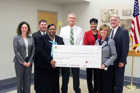 A $1.6 million check was presented to CMCSS today from the National Math and Science Initiative for an expansion of the district's Advanced Placement program. From left are Dayna Paine, 9-12 instruction and curriculum director; Sean Impeartrice, Chief Academic Officer; Galea Jefferies, Northeast High principal; Frank Myers, Rossview High principal; Roz Evans, high schools director; Jean Luna, Clarksville High principal; and B.J. Worthington, CMCSS director.