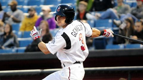 Nashville Sounds Scooter Gennett Goes 2-for-4 To Raise Average To .366 For Nashville. (Mike Strasinger - Nashville Sounds)