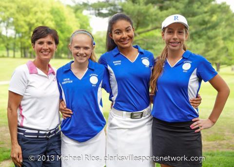 Richview Girls Golf Team. (L to R) Richview Middle assistant coach Leigh Ann Freeman, Kallie Robertson, Mariah Smith, and Cameron Waltman. (Michael Rios - Clarksville Sports Network)