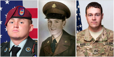 (L to R) Sergeant Jacob M. Schwallie, Private First Class Glenn Shely Schoenmann and Staff Sergeant Christopher Michael Ward.