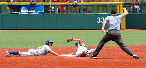 APSU's Reed Harper gets the out at second base. (Lisa Kemmer - Clarksville Sports Network)