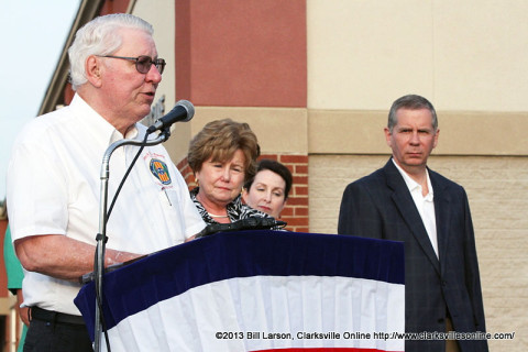 Emcee Gary Ezell addresses attendants at the Candle Light Vigil.
